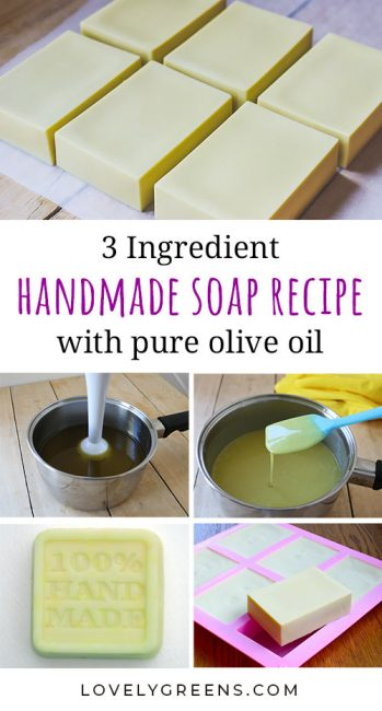 Recipe and instructions for making natural Castile soap with the simplest of ingredients. Also includes tips on how to harden it up and cure olive oil soap faster #lovelygreens #soapmaking #soaprecipe #castilesoap