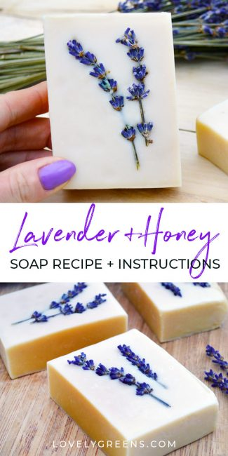 Honey & Lavender Soap Recipe + Instructions: how to make sensitive honey & lavender soap using pure olive oil, lavender essential oil, raw honey, and other skin-loving ingredients #lovelygreens #soaprecipe #soapmaking