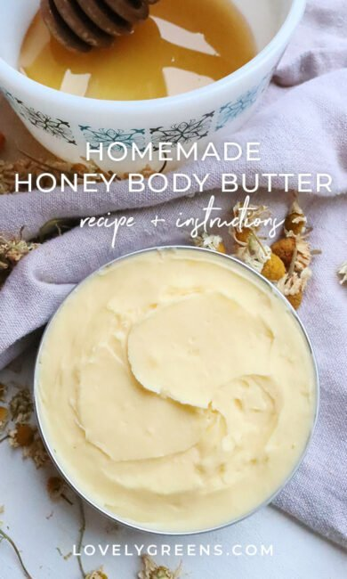 A thick and nourishing honey body butter that you can make with a few ingredients, including cocoa butter, honey, and chamomile essential oil #greenbeauty #skincare
