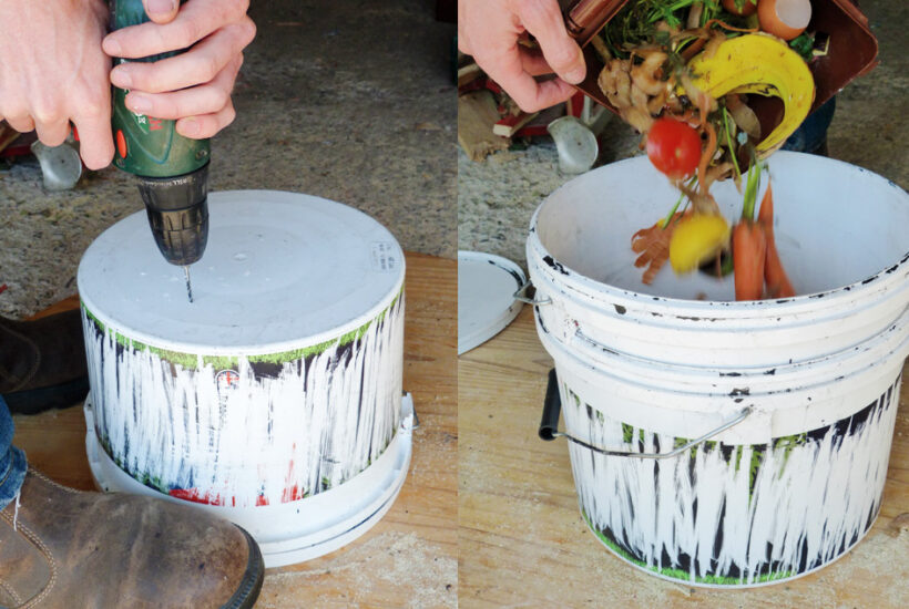 Make a simple DIY bokashi bin using recycled buckets and an inoculated starter. The bokashi composting method allows you to compost cooked food including meat, dairy, fish, and bones #composting #garden #diygarden #organicgarden