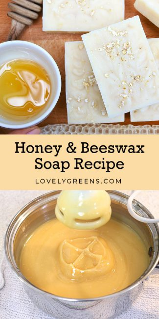 How to make honey and beeswax soap using all natural ingredients. Includes tips on creating both a light colored and warm brown tinted batch of soap #soapmaking #soap #honeyrecipe