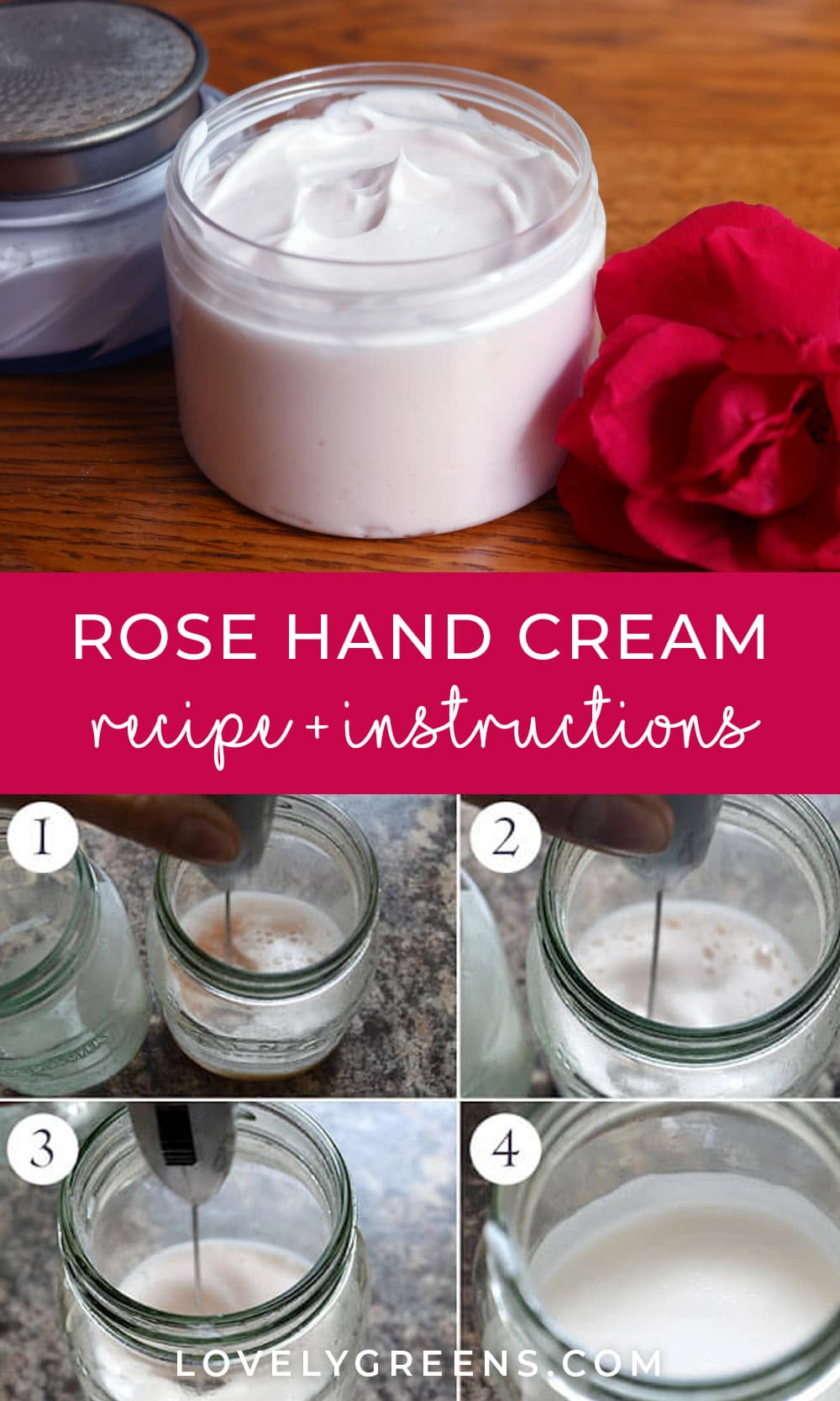 Make this rich and moisturizing handmade rose hand cream recipe using wild rose petals and raw honey. Includes step-by-step instructions and guidance on lotion ingredients #lotionrecipe #roserecipe #skincarerecipe