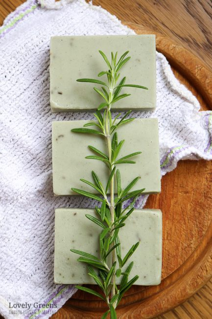 Instructions for making natural rosemary soap recipe for oily skin. Includes a video showing how to make it using fresh rosemary & cambrian blue clay #lovelygreens #soapmaking #makesoap #soaprecipe #howtomakesoap #acneskincare #acnesoap #soapforoilyskin #oilyskin #naturalsoap #naturalsoapmaking