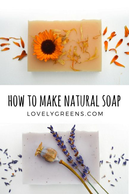 How to make natural soap using rich oils, essential oils, natural colors, and dried flowers and herbs. Tips on ingredients, equipment & safety, basic soap recipes, and full cold-process soap making instructions #lovelygreens #soapmaking #soaprecipe #coldprocess #soapmaker #handmadesoap #essentialoilrecipe