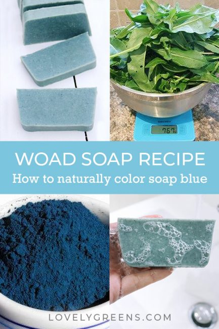 Use this woad soap recipe to make natural blue soap with specks of darker blue throughout. Part of the naturally coloring handmade soap series #soapmaking #soaprecipe #coldprocesssoap