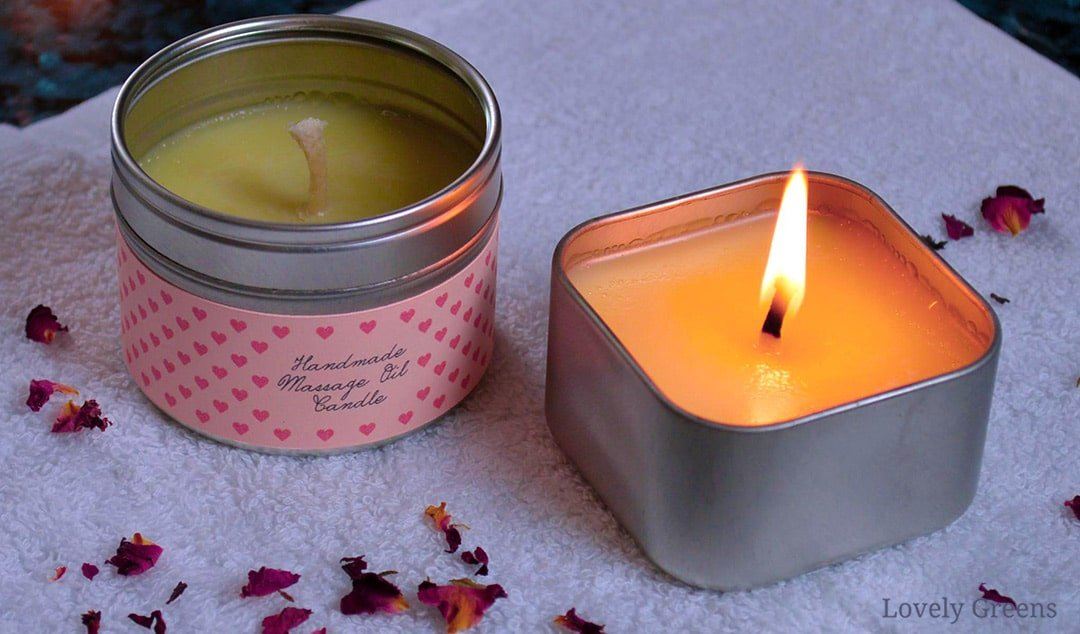 """How to make Massage Oil Candles. Not actually real candles, they're solid massage oil that melts with the help of the flame. Amazingly, the """"wax"""" feels just warm on the skin when it pour it on. Great handmade gift for Valentine's Day or an anniversary #lovelygreens #aromatherapy #diybeauty"""