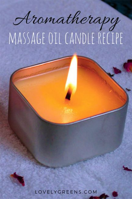 "How to make Massage Oil Candles. Not actually real candles, they're solid massage oil that melts with the help of the flame. Amazingly, the ""wax"" feels just warm on the skin when it pour it on. Great handmade gift for Valentine's Day or an anniversary #lovelygreens #aromatherapy #diybeauty"