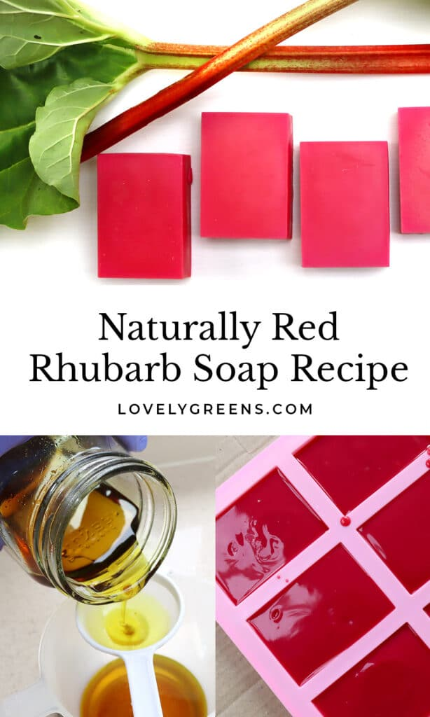 A rhubarb soap recipe that shows how to use Himalayan rhubarb to naturally color soap hot pink to red using the cold-process method #soaprecipe #soapmaking #coldprocesssoap
