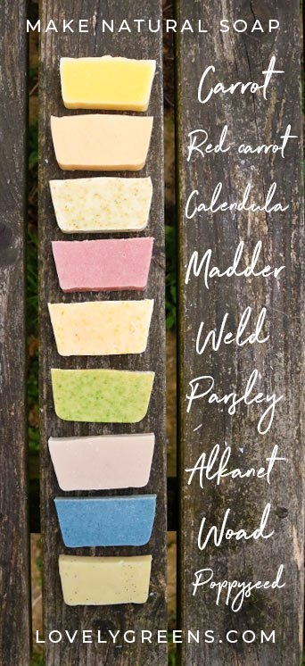 How to Naturally Color Handmade Soap + Ingredients Chart: Plant-based and natural ways to color handmade cold-process soap. Includes natural soap colors listed by color, ingredient, how to use them #soaprecipe #soapmaking #handmadesoap