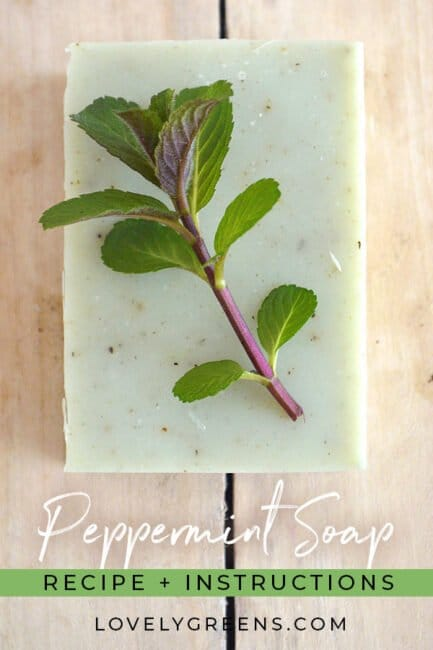 Natural Peppermint Soap Recipe + Instructions: Recipe and instructions for how to make natural cold-process soap with peppermint essential oil. Includes a full DIY video explaining each step #soapmaking #soaprecipe