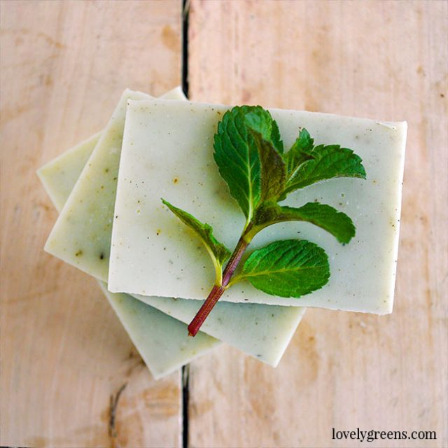 Peppermint Soap Recipe + Instructions: Recipe and instructions for how to make cold-process soap with peppermint essential oil. Includes a full DIY video explaining each step #soapmaking #soaprecipe