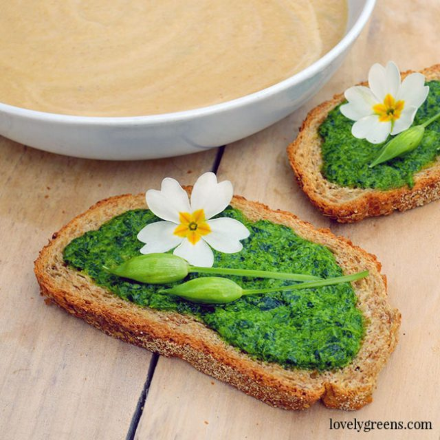 Roasted Parsnip Soup with Fresh Bread & Wild Garlic Pesto