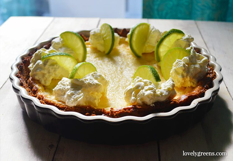 Easy Key Lime Pie with ginger cookie crust