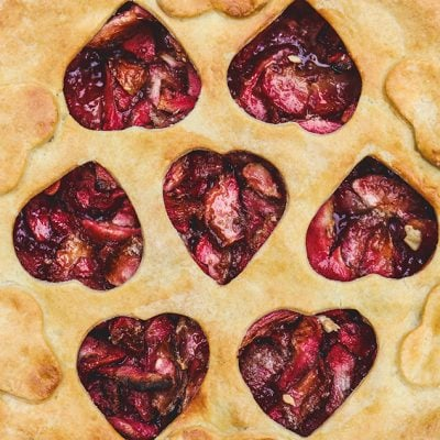 Red Apple Pie Recipe made with red fleshed apples. The vibrant crimson color of the apples takes traditional apple pie to a whole other level