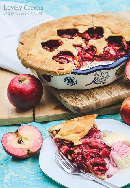 RED Apple Pie Recipe made with Red Fleshed Apples. The vibrant crimson color of the apples takes traditional apple pie to a whole other level #lovelygreens #pierecipe #redfleshapple #redloveapple #piedesign #dessertrecipe #autumndessert #thanksgivingpie