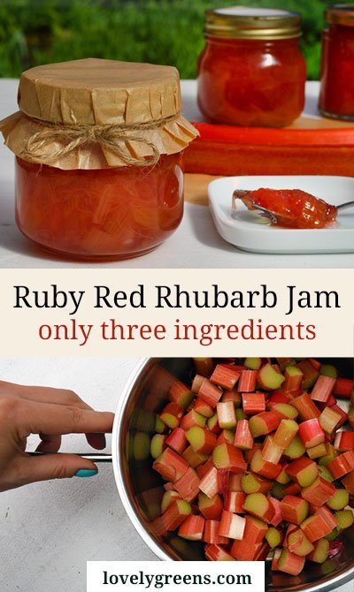Ruby Red Rhubarb Jam Recipe made with tender pink spring rhubarb. Easy to make and delicious on desserts, toast, and greek yoghurt #lovelygreens #rhubarbrecipe #rhubarb