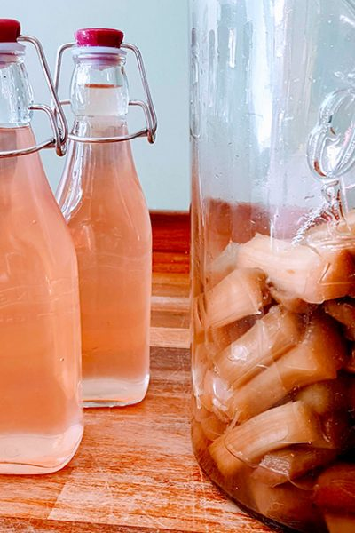How to make homemade pink rhubarb gin with just three simple ingredients. Also includes expert tips on how to grow your own rhubarb plants at home #rhubarbrecipe #ginrecipe #gincocktail #infusedgin