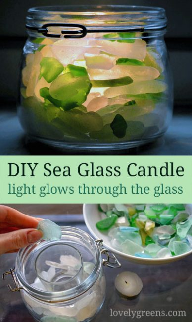 How to make a Sea Glass Candle: Use sea glass found on the beach to create this simple candle votive. Candle light shines through the glass, no glue or tools are required, and full DIY video at the end #seaglass #diycandle #lovelygreens
