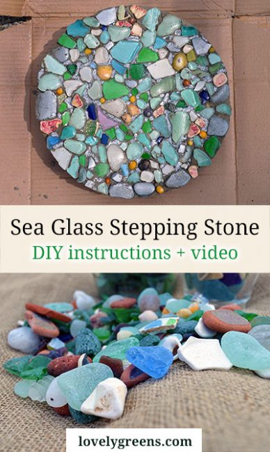 How to make a sea glass stepping stone for the garden #lovelygreens #diygarden