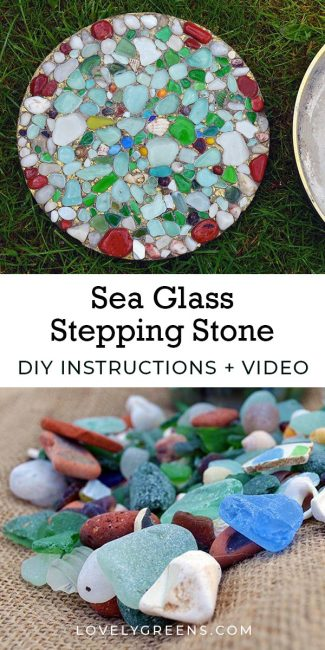 Learn how to make garden stepping stones using colorful sea glass. This project requires only a few inexpensive materials including glass pieces. Full video included #lovelygreens #seaglass #diygarden