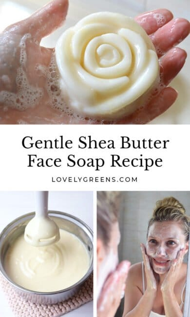 Instructions on making gentle shea butter face soap from scratch using pure oils and natural ingredients. Cold-process soapmaking instructions included #soaprecipe #greenbeauty #sheabuttersoap #facesoap