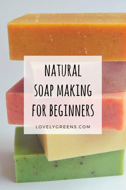 Natural Soap Making for Beginners -- a four part series on how to make handmade soap using all natural ingredients. The parts include Ingredients, Equipment & Safety, Basic Soap Recipes, and the full cold-process soap making method #lovelygreens #soap #soapmaking #howtomakesoap #naturalsoapmaking