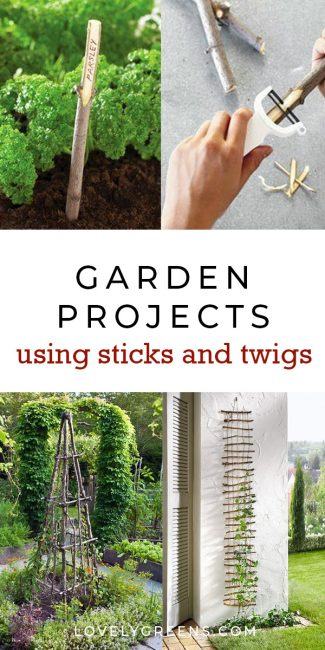 30+ Garden Projects using Sticks & Twigs. Garden beds, edging, plant markers, plant supports, birdhouses and more #diygarden #gardeningtips