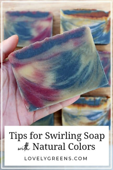 Tips for swirling soap with natural colors including the best soap recipes to use, videos of swirling techniques, and recommended natural colorants #soapmaking #soaprecipe #diybeauty