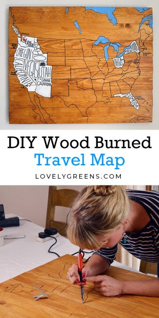 Make a creative DIY travel map using wood planks and a wood burning pen. This project is a wooden wall display that details your personal travels across the United States and parts of neighboring countries. It requires minimal materials and woodworking experience #travel #map #travelmap