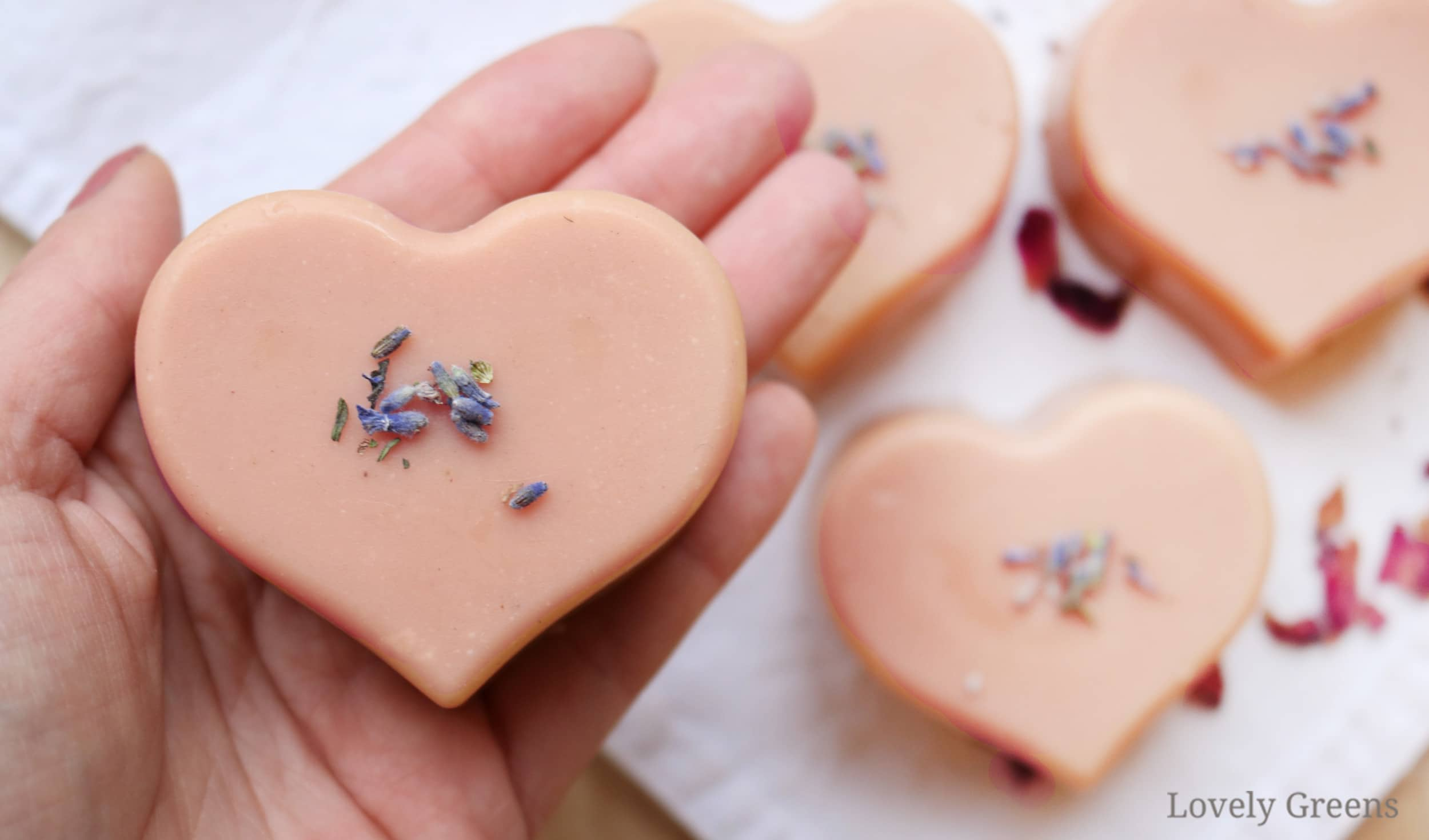 Pink Heart-Shaped Soap Recipe with French Pink Clay