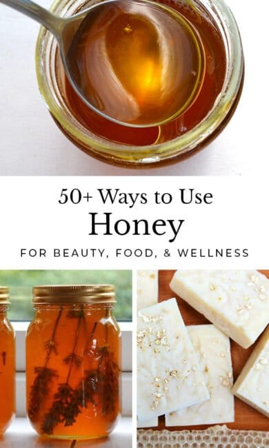 A collection of more than fifty delicious and creative ways to use honey. Make everything from desserts and treats to handmade skincare and medicine #honeyrecipes #naturalhome