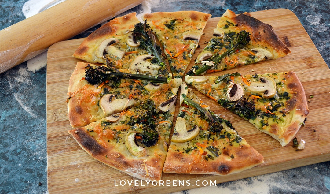 Wild garlic pizza with mushrooms & purple sprouting broccoli
