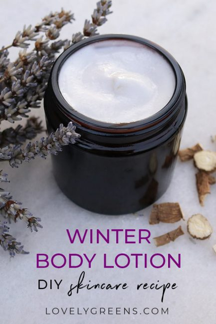 Instructions for making a silky and moisturizing lotion with marshmallow root and lavandin oil. Use as a nourishing hand and body lotion for dry and weatherbeaten skin. Makes one pot but can be scaled up for larger batches #diybeauty #lotioncrafting #lotionmaking #diyskincare