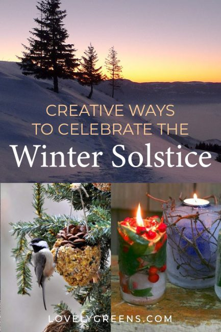 Celebrate the winter solstice with these creative nature crafts, supporting wildlife in winter, warming food recipes, and experiences #wintercrafts #yule #wintersolsticeideas